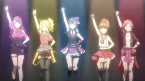 Mai kicks it in Nadeko's body in the pop idol show.