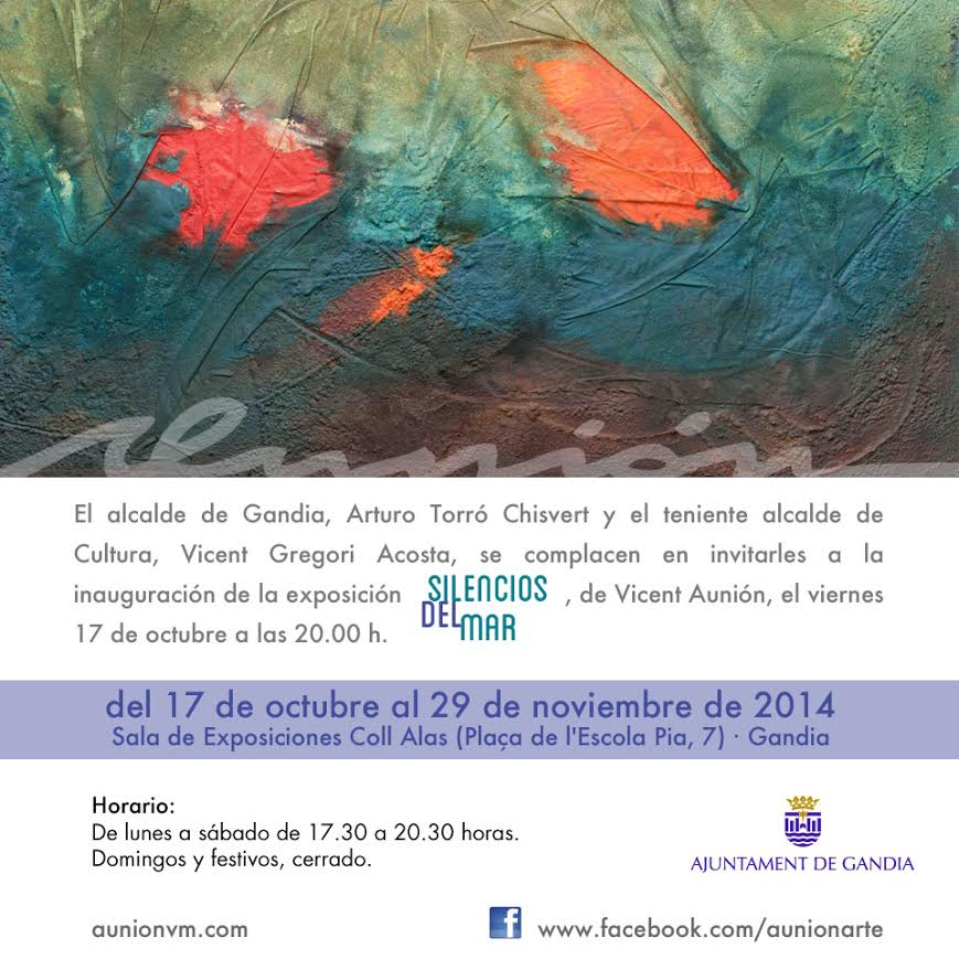 "Aunión. Invitación exposición ""Silencios del mar"", 2014. Sala Coll Alas de Gandia (Valencia)."