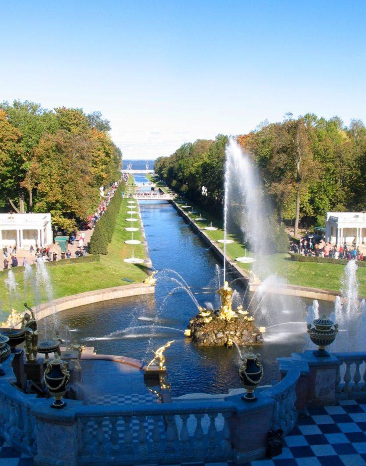 Pietarhovi, suihkulähde, Pietari, St Petersburg, Russia, Venäjä