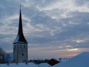 Rakvere, kirkontorni, auringon nousu, Viro, Visit Estonia