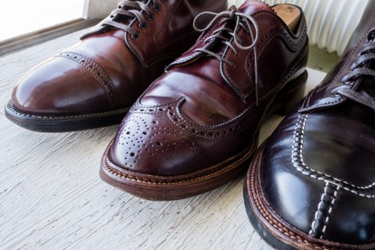 As color 8 shell cordovan lightens, the leather shows great character.