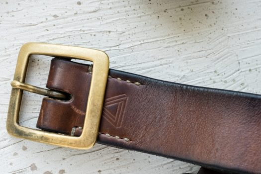 Hollows Leather Rail Belt in Horween Natural Chromexcel