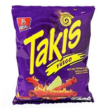 TAKIS Fuego Tortilla Chip Snacks - Spicy Chili Pepper and Lime Flavour 113g Bag from Auntie Ammies American Candy Shop