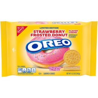 OREO Strawberry Frosted Donut Creme Golden Sandwich Cookies, Limited edition 346g