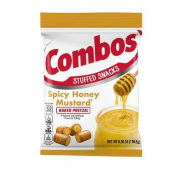 COMBOS Spicy Honey Mustard Pretzel Baked Snacks, 178g from auntie ammies American candy shop