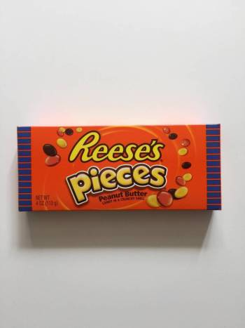 reese's pieces box from Auntie Ammie's American Candy Shop UK