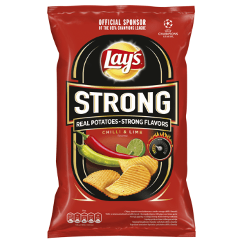 Lay's Strong Chilli & Lime Flavoured Crinkle Cut Potato Crisps - 130g