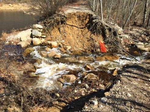 catastrophic dam failure at blue pond