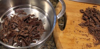 melted dark chocolate in double boiler