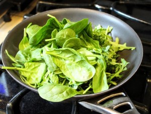 spinach in saute pan