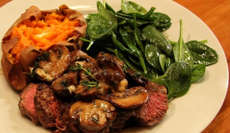 pan seared New York with mushrooms and blue cheese