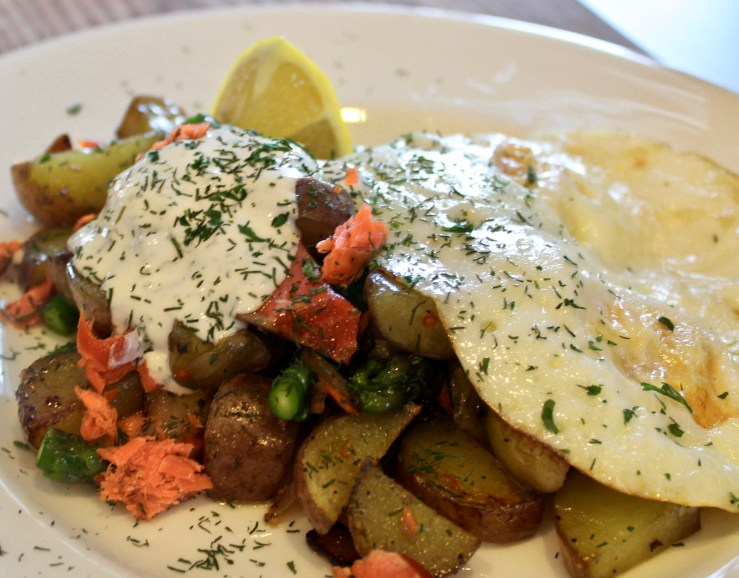 Smoked Salmon Hash with Lemon Dill Sour Cream