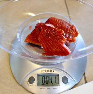 smoked salmon on scale
