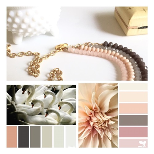 Bead necklace by @vintagerehabjewelerywith inspirational palettes by @designseeds