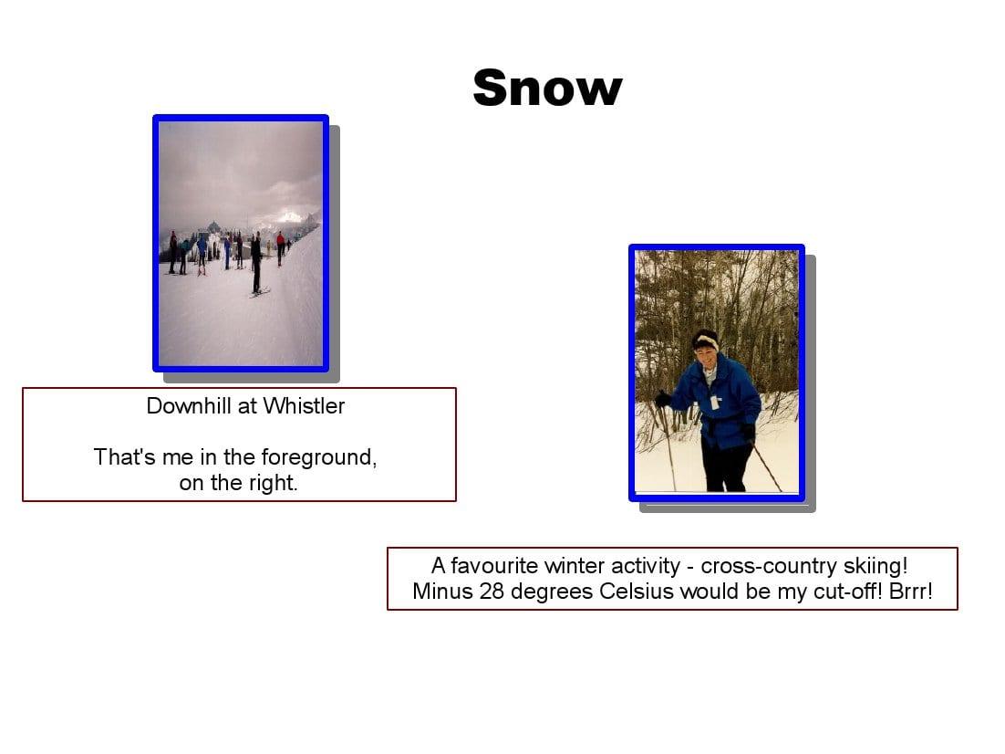 auntie stress snow activities