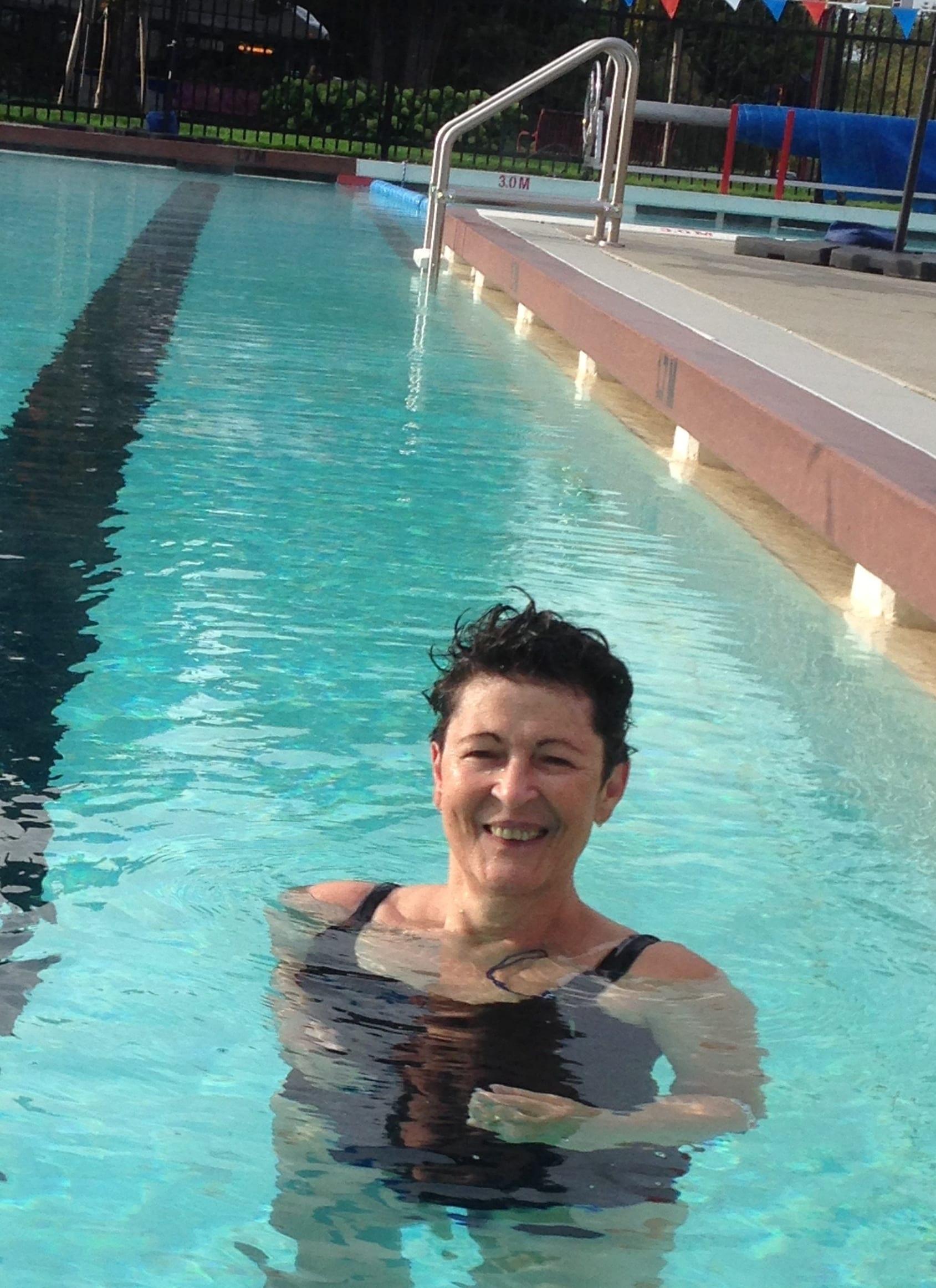 auntie stress swimming