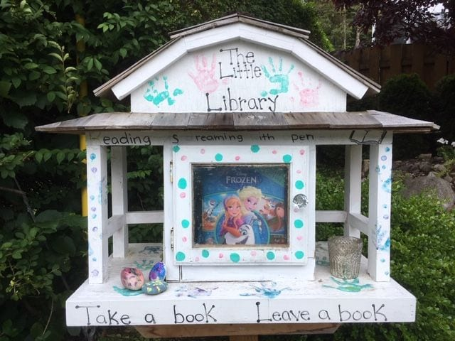 A streetside library.