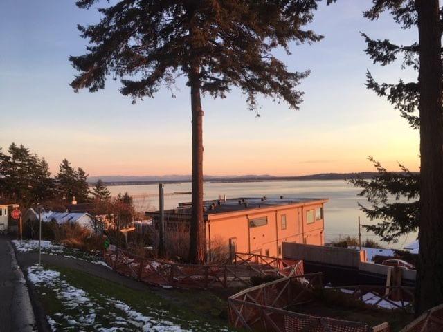 A rosy glow on a calm Semiahmoo Bay. Looking east towards Blaine, Washington.