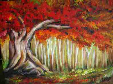 Great Tangled Tree in Autumn Forest