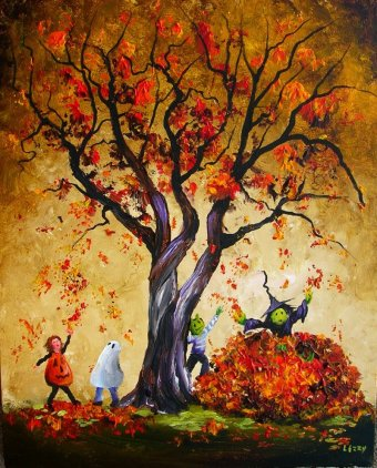 Halloween Kids in the Autumn Leaves 16x20 2008