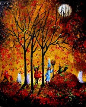 MOONLIT Halloween Kids in the Falling Leaves 16x20 2008 AL