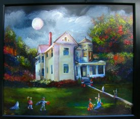 Trick or Treat at Old House Number 808 Framed 20x24 2008