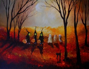 Three Witches Three Ghosts and a Black Cat 11x14