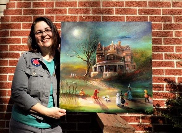 Lizzy and her Trick or Treat Art. 2018 Painted in the essence of an old Manor in Delphi, Indiana