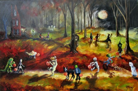 Moonlit Wild Things and the Trick or Treaters 24x36x1.5 2019
