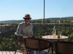 Dr B in the Gordes balcony café