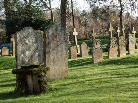 Long shadows in a graveyard