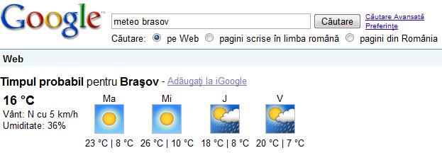 Google despre Meteo