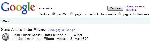 Informatii evenimente / sportive pe Google