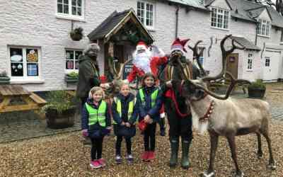 North Cerney pupils receive socials distanced visit from Father Christmas