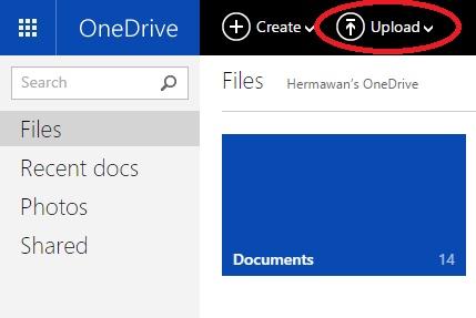 cara upload dan download di OneDrive 1