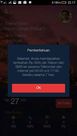 Pulsa gratis 50 ribu telkomsel