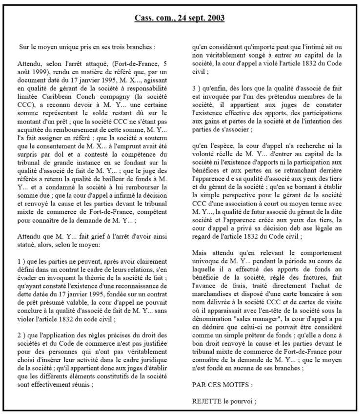 dissertation associé et affectio societatis
