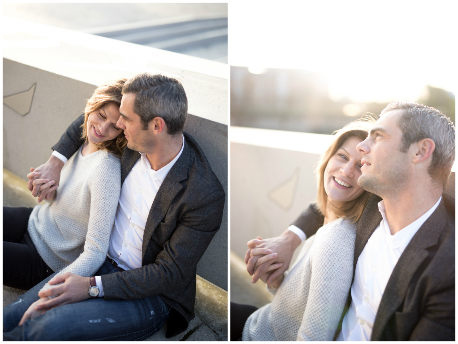 Séance photo Love Session Shooting couple amoureux Philharmonie de Paris lever du soleil