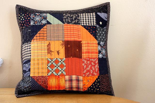 halloween pumpkin patchwork pillow