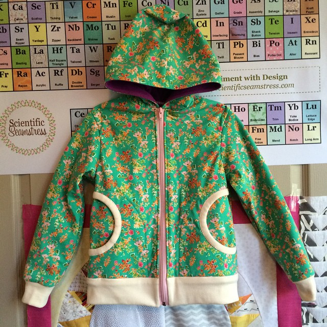 Sweatshirt made by Kristi with Priory Square fabric by Katy Jones for Art Gallery Fabrics