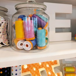 Aurifil spools on display!