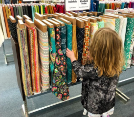 Picking out some favorite fabrics at Fabric Depot