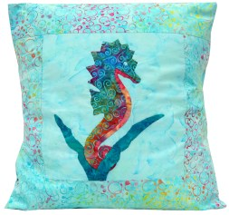 Tropical Seahorse Pillow by Hawaii Ana Quilts