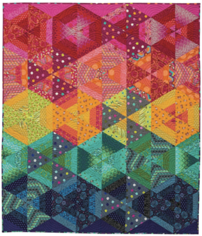 Pot of Gold, 64-1/2 ̋ × 74-1/2 ̋, designed and pieced by Sheila Christensen, quilted by Noeline Day