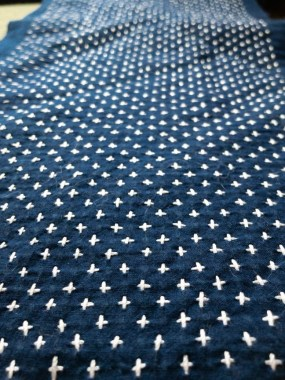 Sashiko Vest 1 Collar Stitching