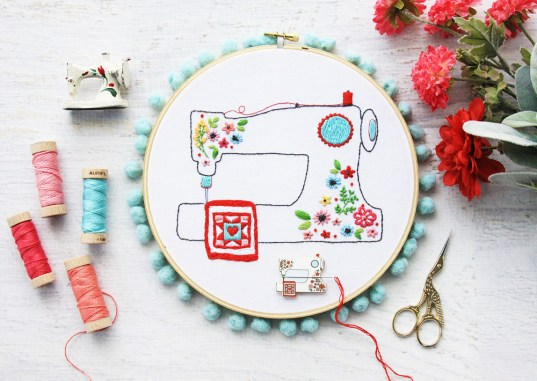 Floral Sewing Machine Pattern & Needle Minder @ Flamingo Toes