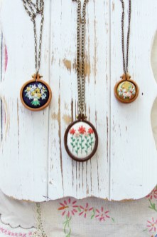Embroidered Mini Hoop Necklaces
