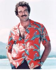 "Shirt in ""Jungle Bird"", a classic Hoffman print as worn by Tom Selleck in Magnum PI - via @hoffmanfabrics"