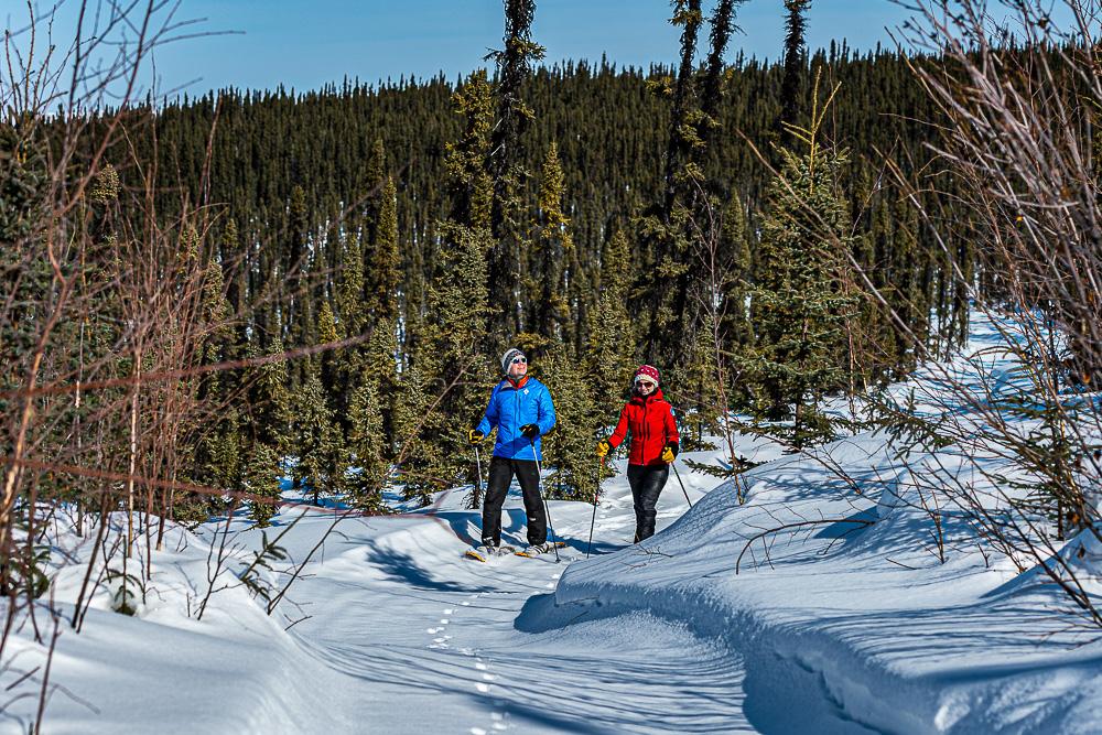 couple snowshoe winter wonder land happy