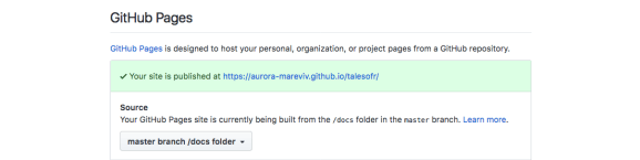 Activating GitHub pages